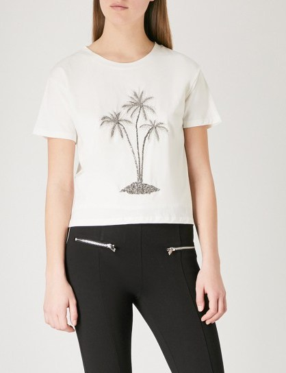 THE KOOPLES Embellished flocked palm tree cotton-jersey T-shirt / beaded tees - flipped