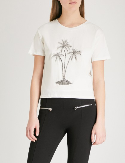 THE KOOPLES Embellished flocked palm tree cotton-jersey T-shirt / beaded tees
