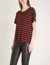 THE KOOPLES Lace-detail striped jersey T-shirt / black and red stripe tees