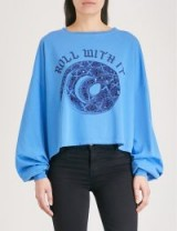 THE KOOPLES Roll With It cotton-jersey top – blue slogan tops