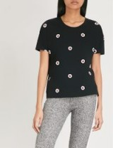 THE KOOPLES Ruby floral-embroidered cotton T-shirt / black embellished t-shirts