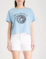 THE KOOPLES Snake-print cotton-jersey T-shirt / light blue slogan 'roll with it' t-shirts