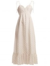 ATHENA PROCOPIOU Tiered fil-coupé dress ~ white and metallic gold frill hem summer dresses