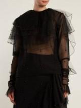 RODARTE Tiered-ruffle tulle blouse ~ sheer layered black blouses