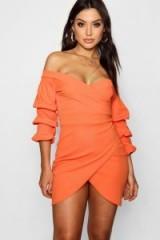 boohoo Tina Off the Shoulder Wrap Bodycon Dress ~ orange bardot dresses