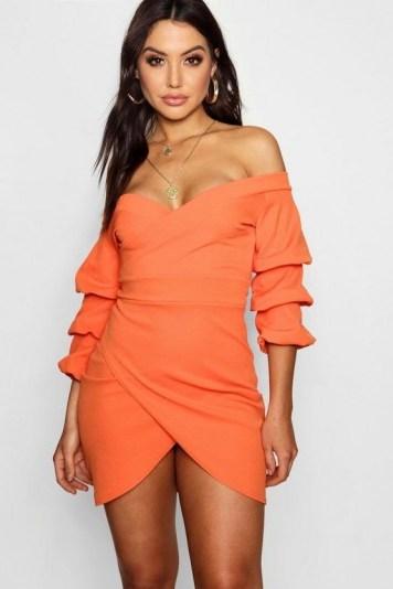 boohoo Tina Off the Shoulder Wrap Bodycon Dress ~ orange bardot dresses - flipped