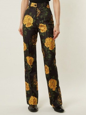 KWAIDAN EDITIONS Torrance floral-print straight-leg trousers / yellow flower prints - flipped