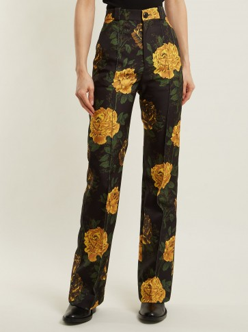 KWAIDAN EDITIONS Torrance floral-print straight-leg trousers / yellow flower prints