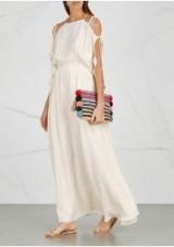 TORY BURCH Evalene ivory draped maxi dress ~ floaty summer evening dresses