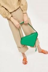 Topshop Triangle Zip Shoulder Bag | green retro bags