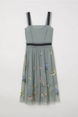 H&M Tulle dress with embroidery dusky green / floral dresses