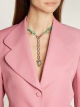 GUCCI Turquoise stone-embellished wolf-head charm silver necklace ~ statement jewellery