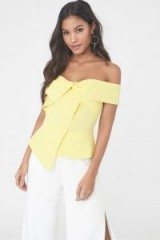 LAVISH ALICE twist bardot top with asymmetric hem in yellow ~ off the shoulder tops