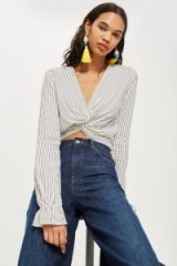 Topshop Twist Front Blouse | monochrome striped frilled cuff tops