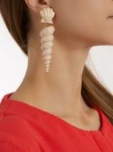 REBECCA DE RAVENEL Twisty shell-drop clip-on earrings ~ light-beige wood statement jewellery ~ sea shells