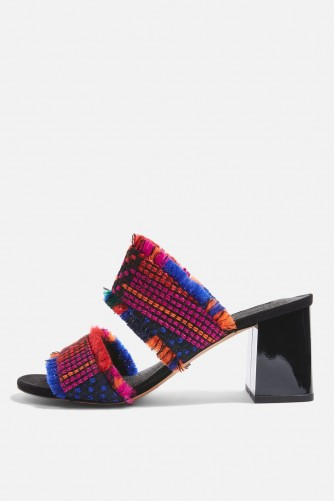 TOPSHOP Two Part Woven Mules / chunky heel fabric sandals / textured mule