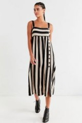 UO Deena Striped Linen Button-Down Midi Dress – black and white stripe sundress