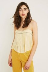 UO Mini Yellow Swing Cami ~ strappy front pleated tops
