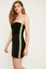 UO Rainbow Stripe Tube Top Dress ~ strapless side striped dresses