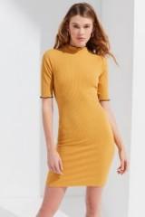 UO Shelly Lettuce-Edge Turtleneck Dress ~ yellow frill trim dresses