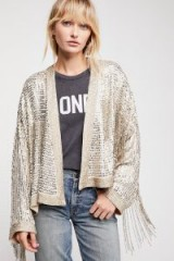 FREE PEOPLE Valencia Jacket Silver Rose / shiny sequin fringed jackets