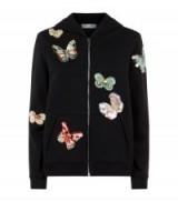 Valentino Embellished Butterfly Hoodie ~ black hoodies ~ sequin butterflies