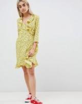 Vero Moda Petite Floral Wrap Dress ~ yellow riffle dresses
