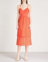 WAREHOUSE Tiered cotton-broderie anglaise midi dress in red
