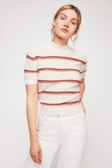 Free People Way Back Mock Neck Jumper in Petal Combo | striped short sleeve jumpers