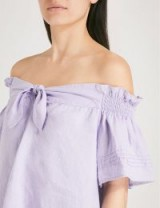 WHISTLES Off-the-shoulder bow-detail linen top ~ lilac bardot tops