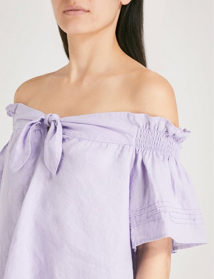 e7224a2021f310 WHISTLES Off-the-shoulder bow-detail linen top ~ lilac bardot tops ...