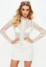 Missguided white embellished high neck bodysuit – sheer going out tops