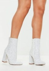 Missguided white flared heel glitter ankle boots – glittering booties