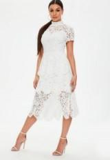 Missguided white lace midi skater dress – semi sheer high neck dresses
