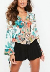 Missguided white oriental print tie front blouse | flared sleeve floral blouses