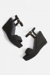 Topshop Wild Rope Wedge Sandals | black textured wedges