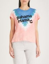 WILDFOX Bahama Mama text print tie-dye T-shirt Pacific tie dye / pink and blue slogan tee