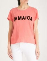 WILDFOX Flocked print Jamaica T-shirt / pink slogan t-shirt