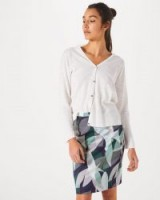 JIGSAW WOVEN LEAVES PENCIL SKIRT PEACOCK GREEN / printed skirts