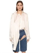 Y PROJECT OVERSIZED SILK SATIN SHIRT W/ 4 SLEEVES ~ long luxe white silky shirts