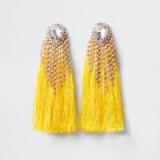 RIVER ISLAND Yellow diamante tassel drop earrings
