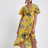 RIVER ISLAND Yellow floral frill tie waist wrap midi dress