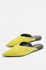 TOPSHOP Yellow Kilo Pointed Mules ~ pointy flats