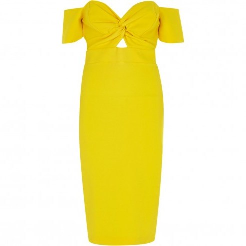 RIVER ISLAND Yellow knot front bardot bodycon dress ~ off the shoulder party dresses - flipped