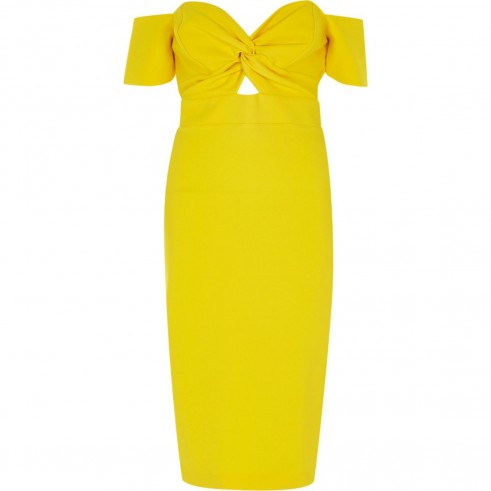 RIVER ISLAND Yellow knot front bardot bodycon dress ~ off the shoulder party dresses