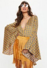 MISSGUIDED yellow paisley print satin extreme sleeve bodysuit ~ plunge front flared sleeved bodysuits ~ boho style tops