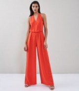 REISS YEVA BACKLESS STRAP-DETAIL JUMPSUIT SUNSET ORANGE / strappy back wide leg jumpsuits