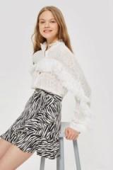 Topshop Zebra Ruffle Mini Skirt | animal print skirts