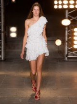 ISABEL MARANT Zeller one-shoulder broderie-anglaise cotton dress ~ white ruffled dresses ~ boho style