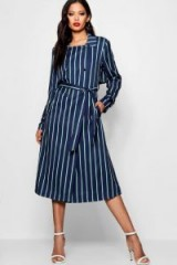 boohoo x Zendaya Edit Stripe Trench Coat – navy striped coats – celebrity fashion collections